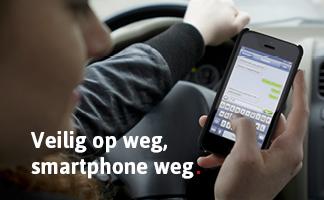 veilig op weg smartphone weg